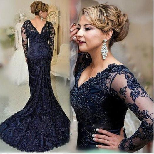 Black prom Dress,mermaid Prom Dress,long sleeves prom dress,lace prom dress,prom dress long