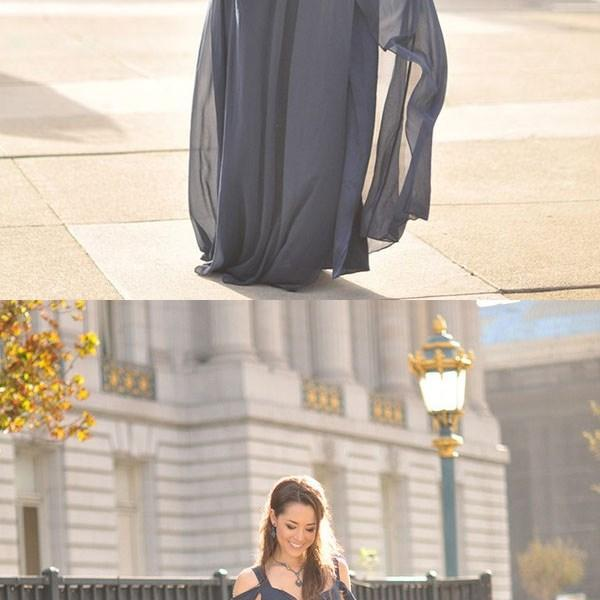 New Arrival Prom Dress,chiffon long prom dress,gray off shoulder long prom dress, evening dresses,bridesmaid dress