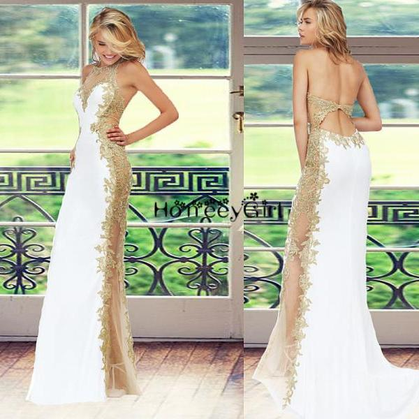 Backless Mermaid Halter Gold Sequin Side Split Long Prom Dress Beaded Sexy Prom Dress