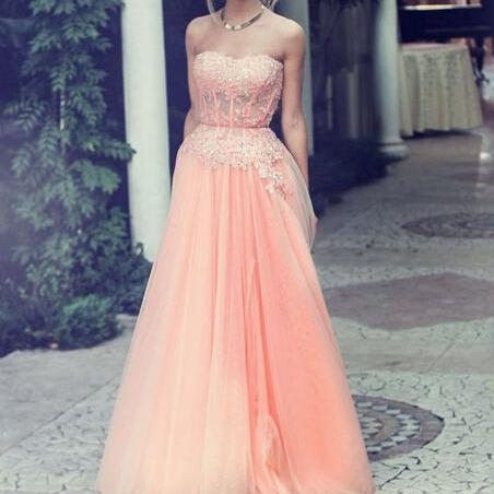 Coral Strapless Appliques Floor-Length Prom Dresses Sweetheart Prom Dresses Chiffon And Tulle Prom Dresses Evening Dresses