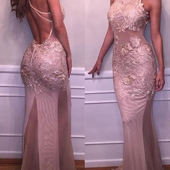 Charming Round Neck Backless Sweep Train Blush Mermaid Prom Dress with Appliques