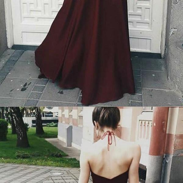 Charming Halter Maroon Chiffon Floor Length Prom Gowns, Beautiful Prom Dresses, Long Party Dresses