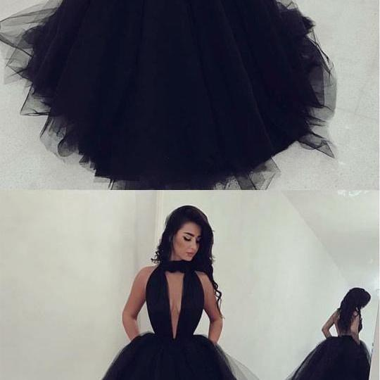 Sexy Halter Top Tulle Ballgowns Prom Dresses 2018 Backless Evening Gowns