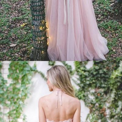 Light Pink Lace Halter Top A-line Tulle Prom Bridesmaid Dresses, Popular Cheap Bridesmaid Dresses