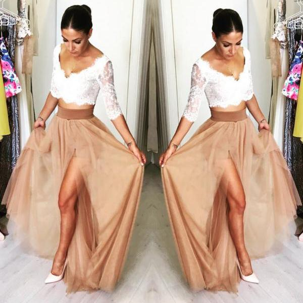 Lace Bodice Two Piece Tulle Prom Dress V Neck Half Sleeves Party Gown with Slit