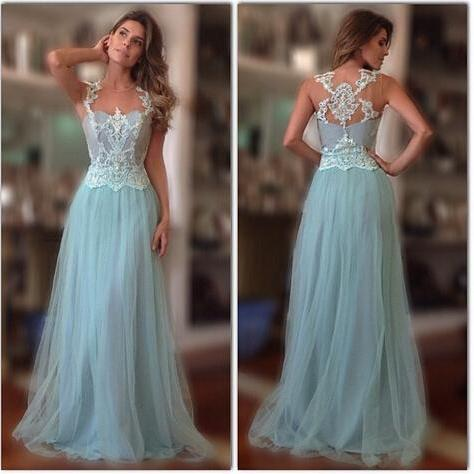 Light Blue A Line Lace Prom Dress Elegant Evening Dress