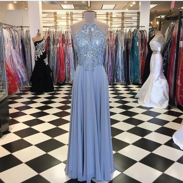 Silver Prom Dress,Chiffon Prom Dress,Beaded Prom Gowns,Long Formal Evening Dresses,Prom Dresses