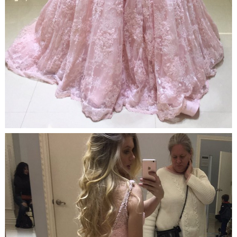 Charming Prom Dress, Pink V Neck Pink Lace Long Prom Dresses