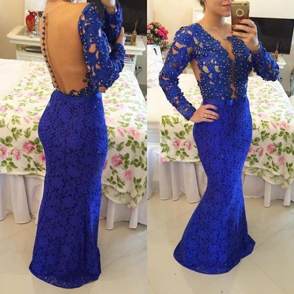Gorgeous Royal Blue Lace Beaded Long Sleeve See Through Back style Long Mermaid Prom Dresses