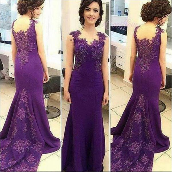 Purple Soft Satin Lace Beaded Sleeveless Mermaid Newest 2017 Prom Dresses