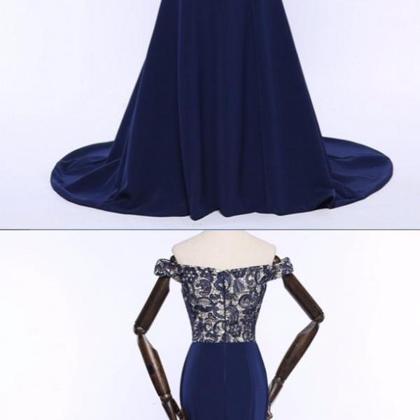Luxurious Lace Mermaid Long Evening Dresses V-Neck Dark Blue Pageant Prom Gowns Formal Evening Gown