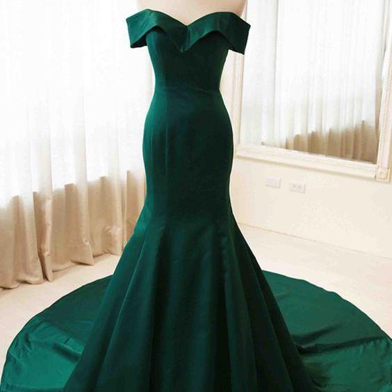 Green Sweetheart Off-the-Shoulder Satin Mermaid Long Prom Evening Dress