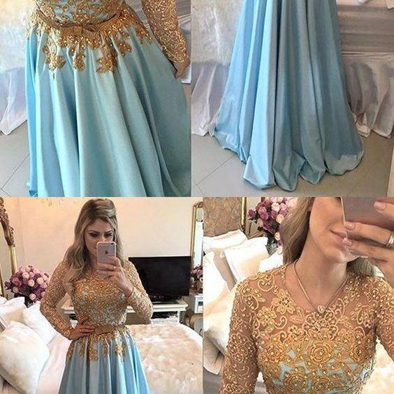 A-Line Prom Dresses,Long Sleeves Prom Dresses,Blue Prom Dresses,Beading Prom Dresses,Prom Dresses