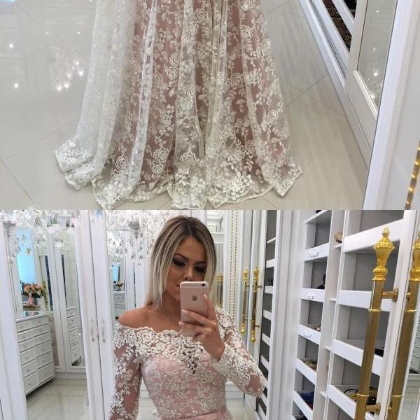Sheer Lace Off Shoulder Evening Dresses with Long Sleeves 2018
