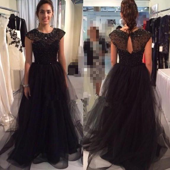 Charming Prom Dress,Beading Prom Dress,Tulle Prom Dress,A-Line Evening Dress