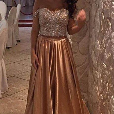 Charming Prom Dress,Beading Prom Dress,Two Pieces Prom Dress,Satin Evening Dress