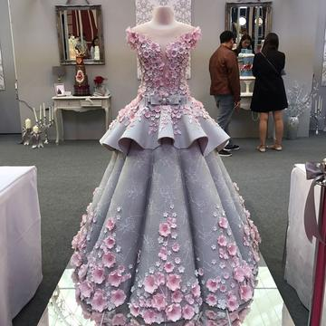 Pink Flora Lace Flower Wedding Dresses Ball Gowns 2018