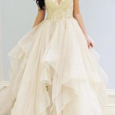 Charming V-Neck Sleeveless Ivory Beading Prom Dress with Lace