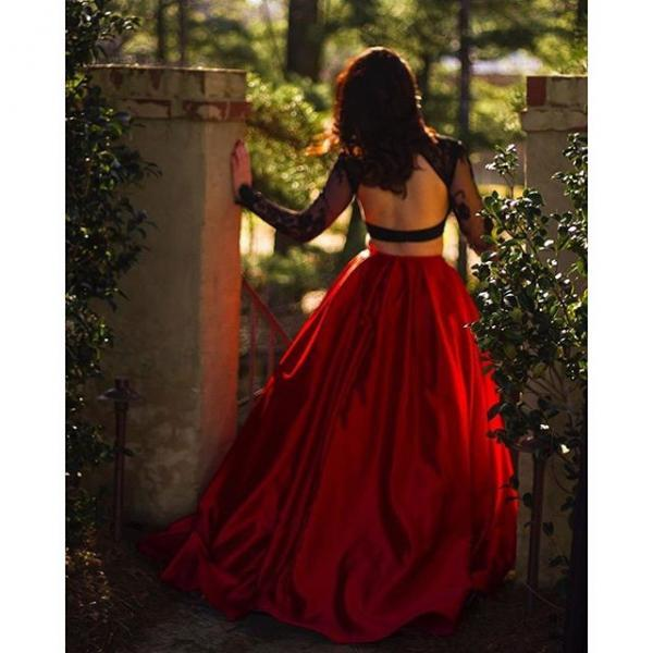Long Sleeves Prom Dresses Ball Gowns Open Back Evening Formal Party Gowns For Women