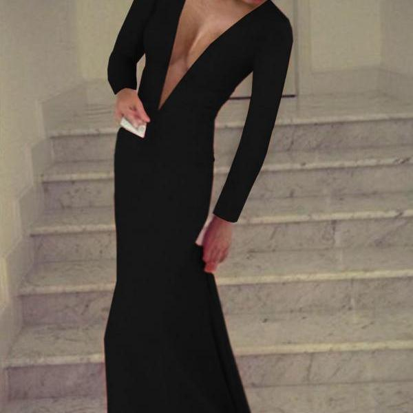 Black Prom Dress,Deep V Neck Prom Dress,Long Sleeve Prom Dress,Mermaid Prom Dress,Long Sexy Prom Dress,Sexy Party Dress,Long Evening Dress,Fashion Formal Dress,Women Prom Gowns 10709
