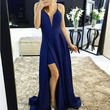 Simple blue chiffon long prom dress, evening dress 10710
