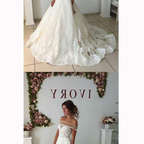 White Lace Appliques Off-The-Shoulder Floor Length Tulle Wedding Gown Featuring Train White Lace High Quality Wedding Dresses Bridal Dresses