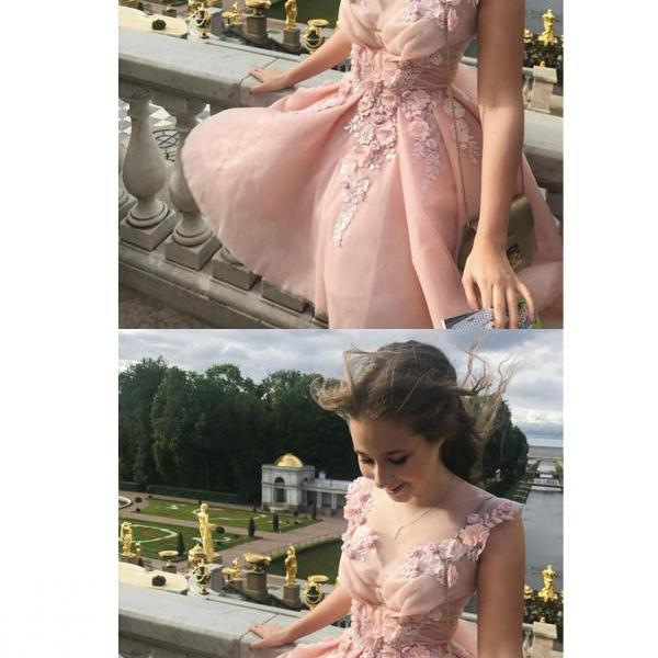 Blush Pink V Neck Sleeveless Appliques Short Homecoming Dresses,Cheap Grad Dress with Flower, A-line Party Dresses