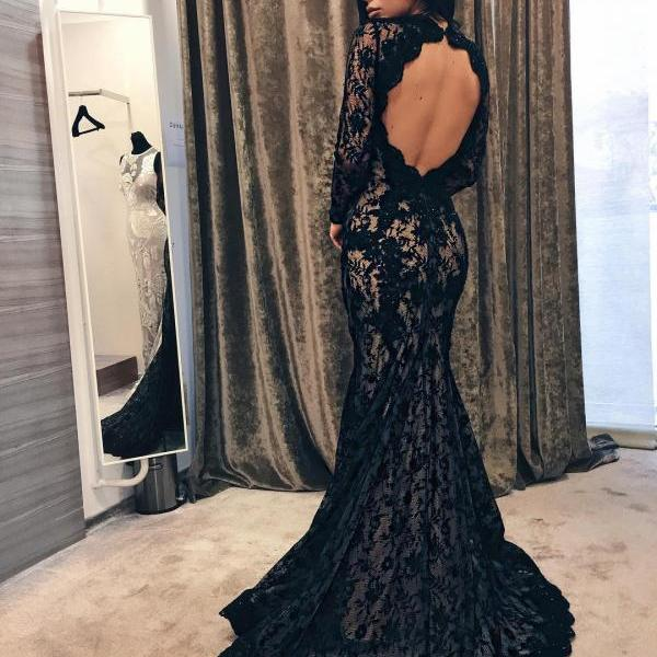 Elegant Mermaid Open Back Sweep Train Evening Dress,Black Lace Prom Dress,Long Sleeve Trumpet Long Party Dresses
