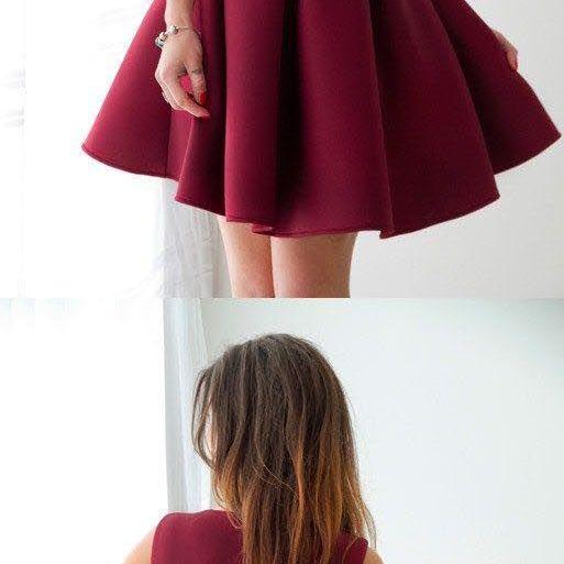 Elegant Simple Burgundy Homecoming Dresses,2018 Fashion Style Short Prom Party Gowns,Cocktail Dress