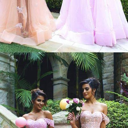 Trendy A-Line Off-the-Shoulder Long Tulle Prom/Bridesmaid Dress with Lace Appliques