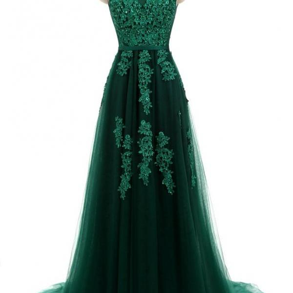 Forest Green Lace Formal Prom Evening Dress with Open Back,PL0477