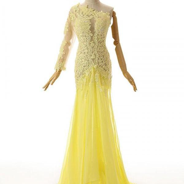 Yellow One Shoulder Lace Formal Prom Evening Dress,PL0478
