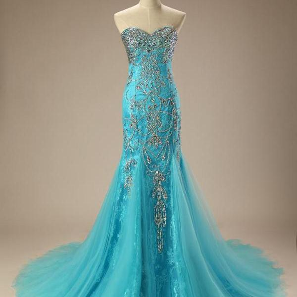 Turquoise Jeweled Lace Mermaid Formal Evening Dress,PL0479