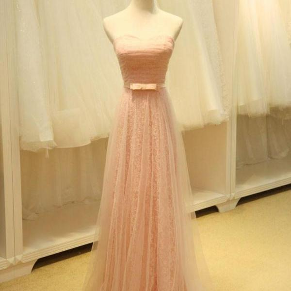 Strapless Blush Pink Fairy Tale Bridesmaid Dress,PL0480