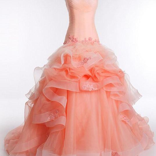 Strapless Peach Fit and Flare Formal Prom Pageant Ball Gown,PL0519