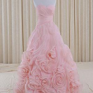 Pink Strapless Sweetheart Evening Dress with Rosette Ruffles,PL05127