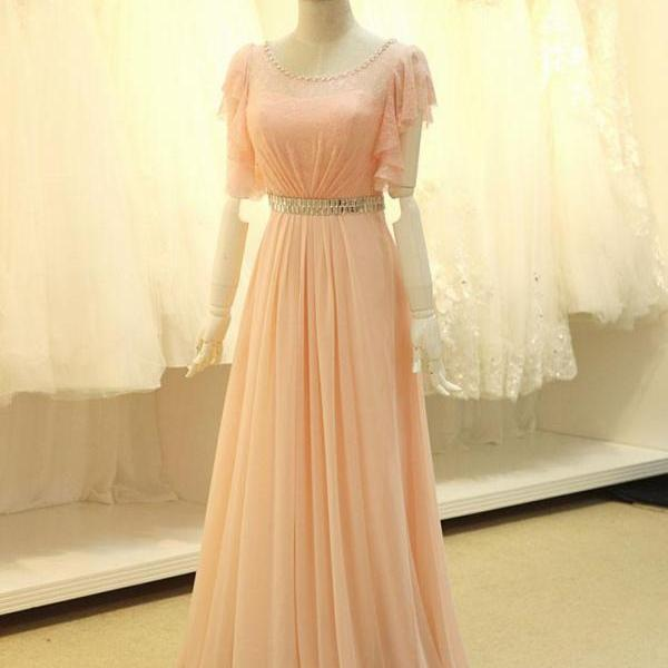 Modest Blush Pink Formal Pageant Evening Dress with Sleeves,PL05129