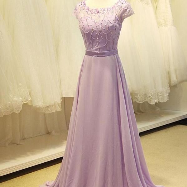 Modest Lavender Floral Prom Formal Evening Dress,PL0530