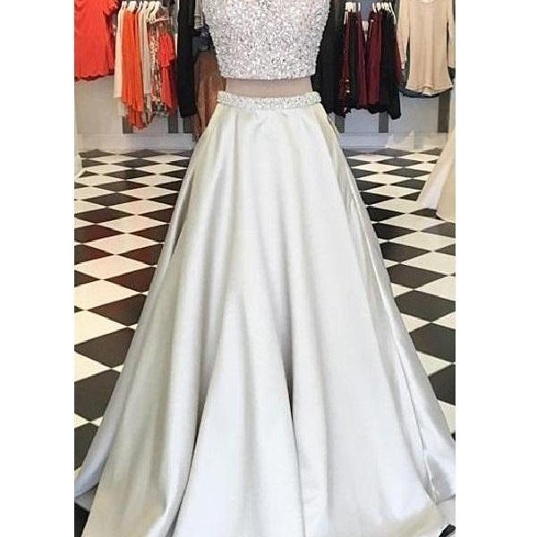 Two Piece Prom Dress Juniors Prom Dress Bling Prom Dress Long Homecoming Dress ,PL0557