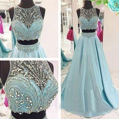 Disney Prom Dress,Blue Prom Dress,Two Piece Prom Dress,Ball Gown Prom Dress ,PL0558