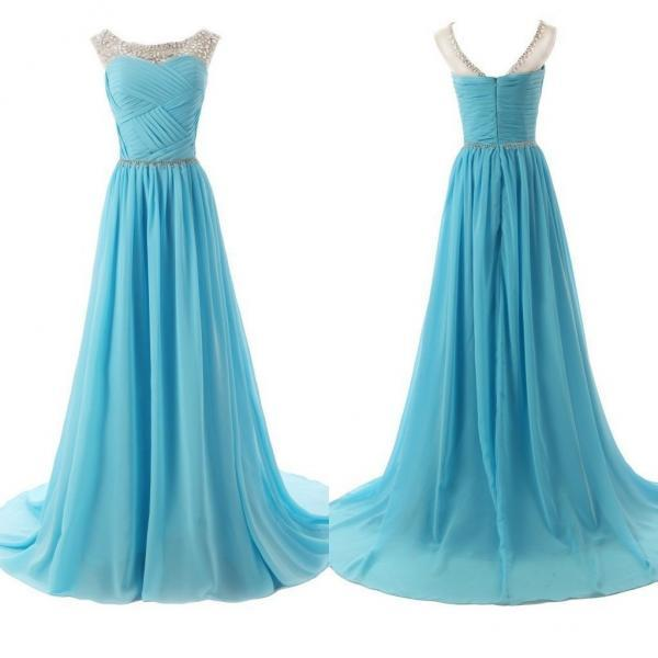 Blue Prom Gown,Prom Dress Long,Fashion Prom Dress,Chiffon Prom Dress,2021 Prom Dress,PL0559