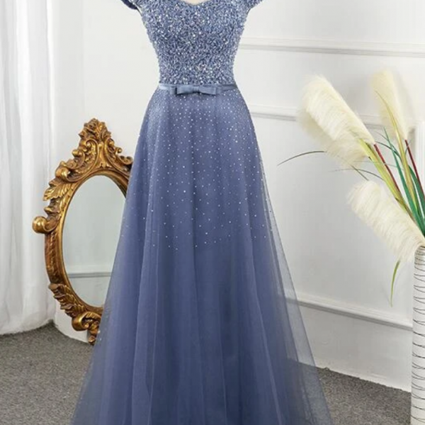 Tulle Sequins Cap Sleeves Long Party Dress, Floor Length Prom Dress,PL0599