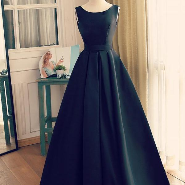 Beautiful Long Black Satin Evening Gown, Backless Long Prom Dress,PL0600