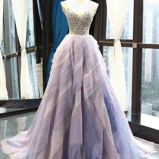 Chic Ombre Prom Dress A Line Tulle Cheap Beading Prom Dress,PL0658