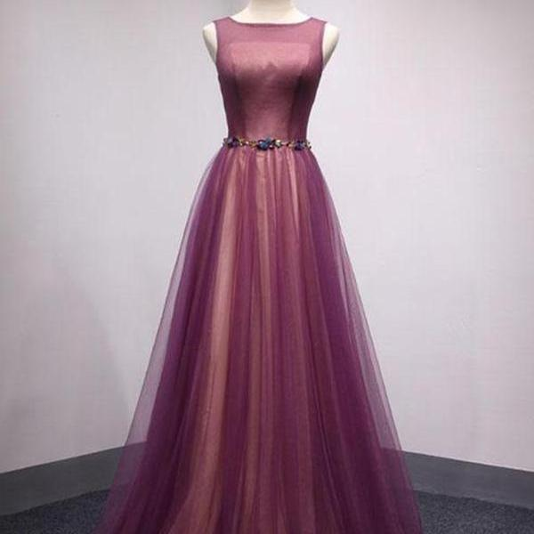Chic A Line Prom Dress Modest Purple Cheap Long Prom Dress,PL0718