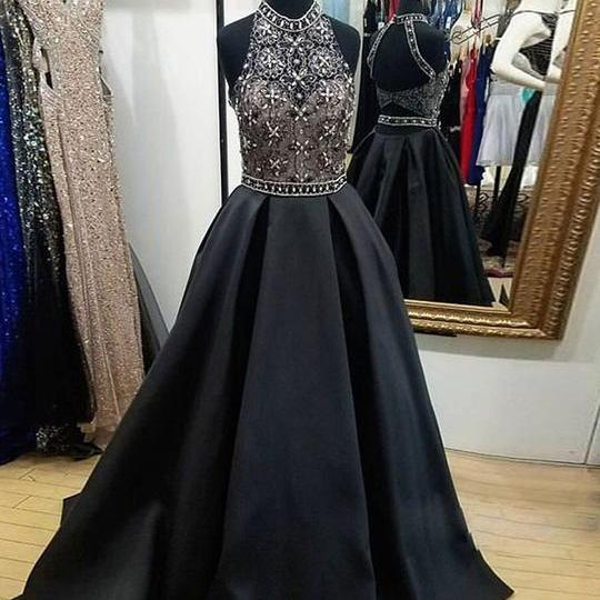 Chic A Line Prom Dress Modest Cheap Black Long Prom Dress,PL0720