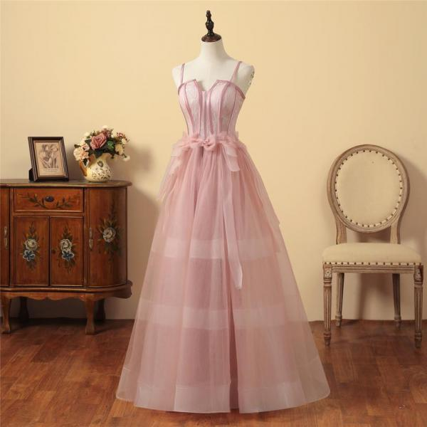 Elegant Blush Pink Tulle Long Formal Dress,PL0769