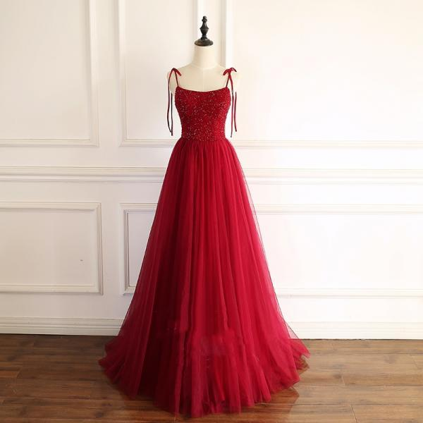 Red A-line Tulle Long Formal Dress with Tie Straps,PL0785