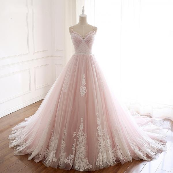 Pearl Pink and White Lace Long Formal Dress,PL0786