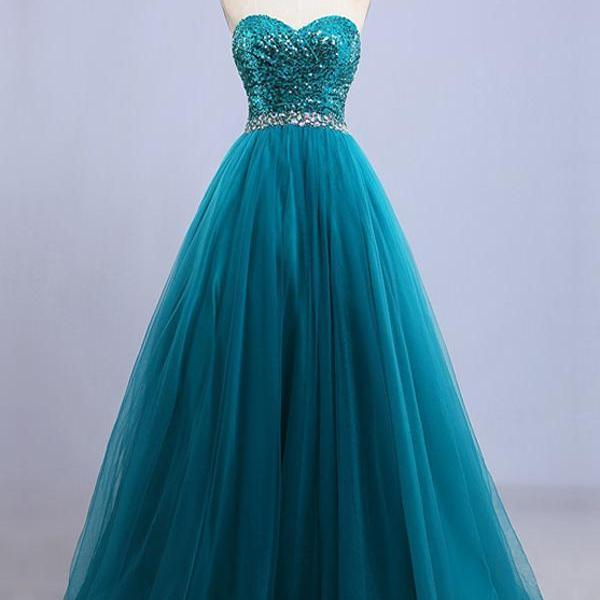 A-line Sweetheart Floor-length Sleeveless Tulle Prom Dress/Evening Dress ,PL08127